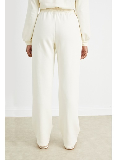 Curly Kemik Önü Dikişli Bol Paça Jogger Pantolon Beyaz